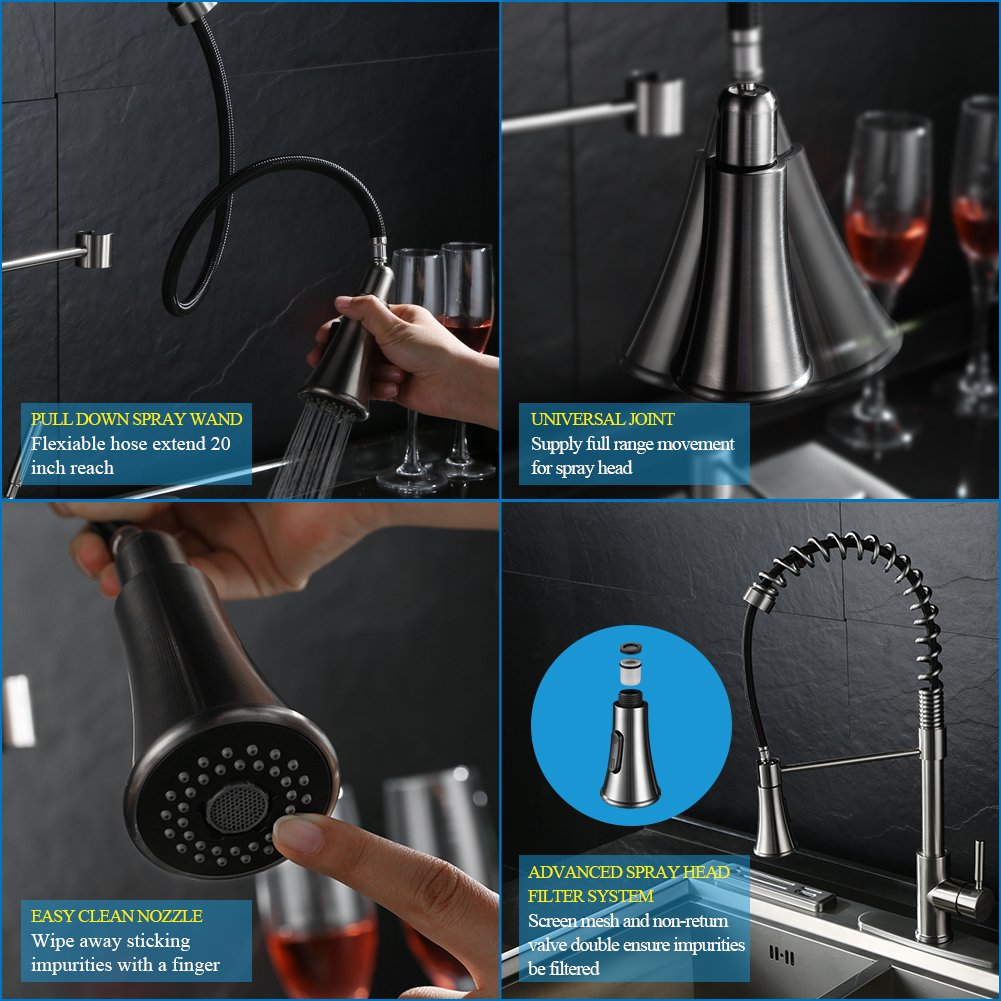 Kitchen Faucets with Pull Down Sprayer – WEWE A1002LU Commercial ...