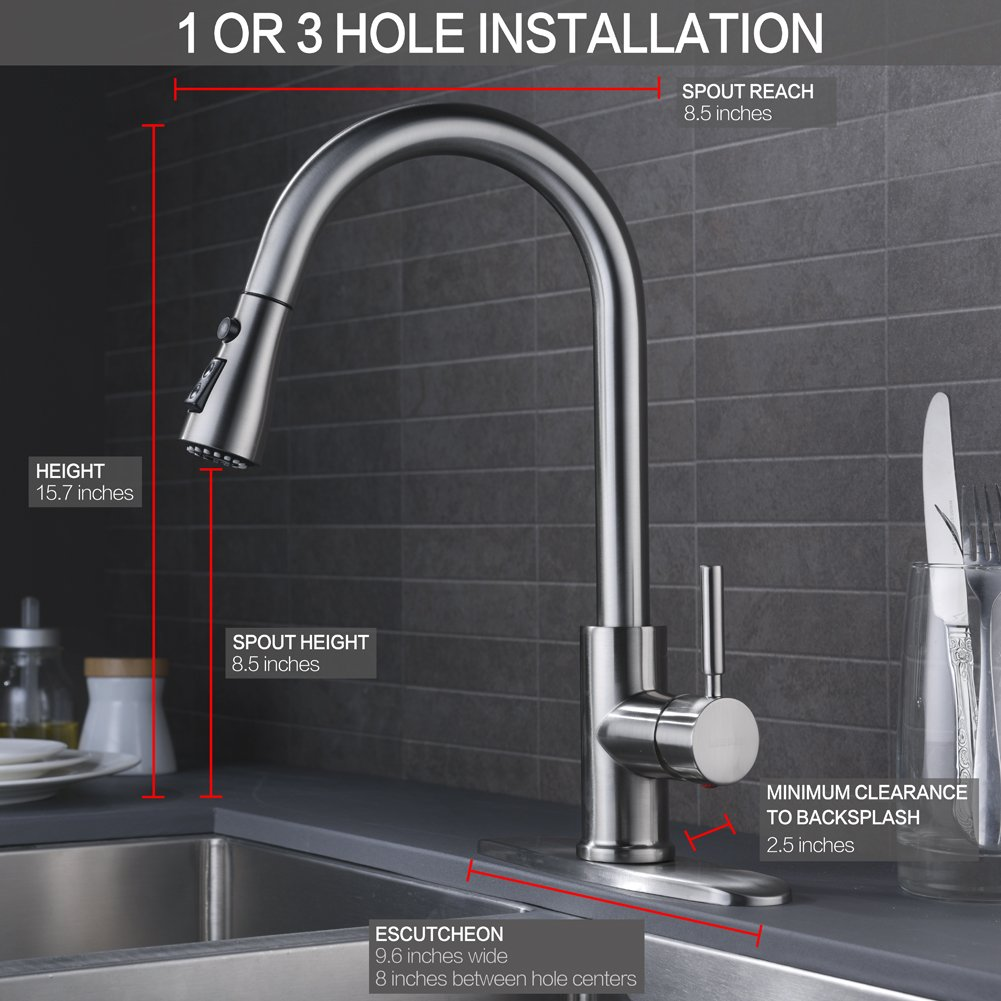 WEWE Single Handle High Arc Brushed Nickel Pull out Kitchen Faucet ...