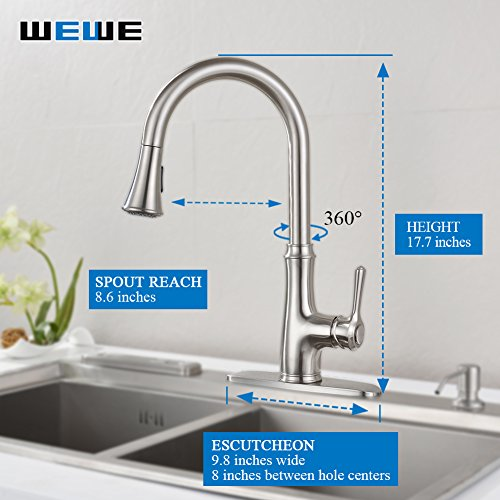 Kitchen Faucet Pull Down Sprayer Wewe A1008l Stainless Steel Sink Faucets Single Handle High Arc Brushed Nickel With Out