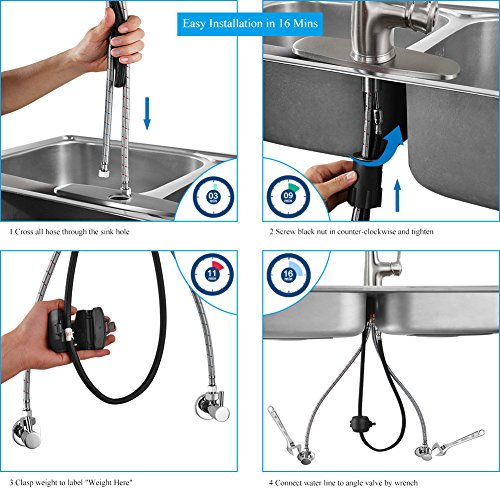 Kitchen Faucet Pull Down Sprayer – WEWE A1008L Stainless Steel Sink Faucets  Single Handle High Arc Brushed Nickel Faucet with Pull Out Sprayer