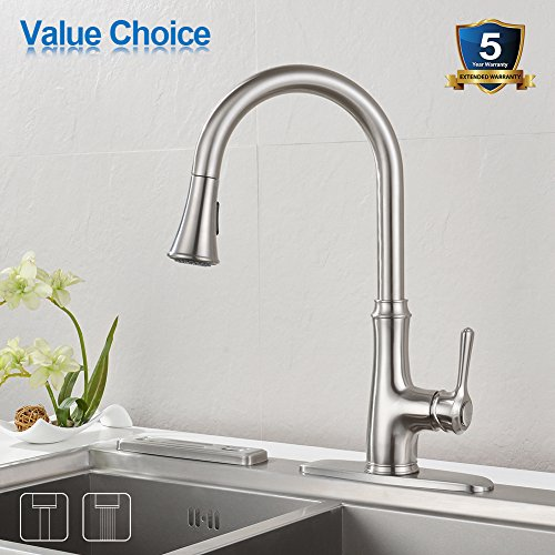 Kitchen Faucet Pull Down Sprayer Wewe A1008l Stainless Steel Sink Faucets Single Handle High Arc Brushed Nickel Faucet With Pull Out Sprayer Wewe