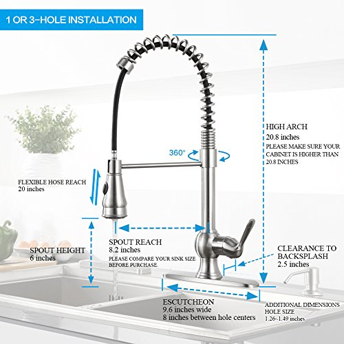 Kitchen Faucet with Sprayer – WEWE A1003L Single Handle ...