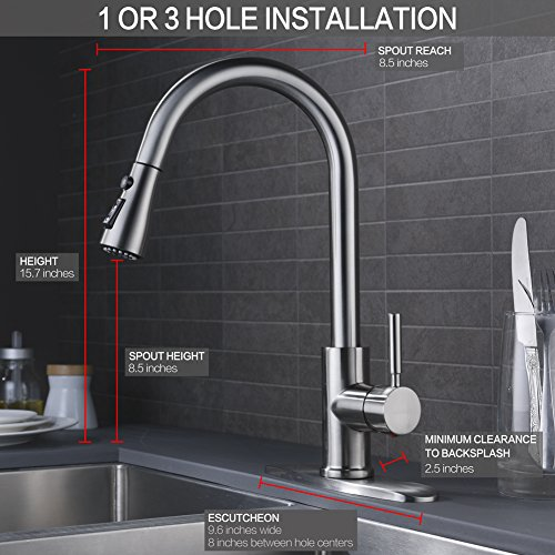 Wewe Single Handle High Arc Brushed Nickel Pull Out Kitchen Faucet Level Stainless Steel Sink Faucets With Down Sprayer