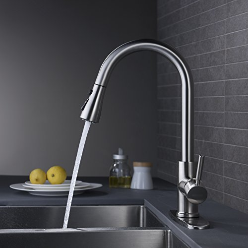 Wewe Single Handle High Arc Brushed Nickel Pull Out Kitchen Faucet Single Level Stainless Steel Kitchen Sink Faucets With Pull Down Sprayer Wewe Faucet