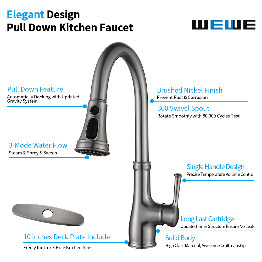 Kitchen Faucet Wewe Single Handle Pull Down Kitchen Sink Faucet With Pull Out Sprayer Wewe Faucet