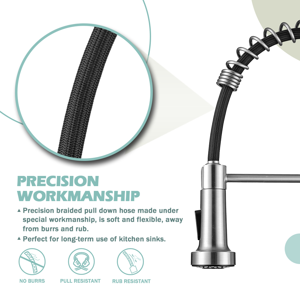 Kitchen faucets with Pull Down Sprayer WEWE sus304 Stainless Steel Brushed Nickel Single Handle Single Hole Faucet for Farmhouse rv Utility bar Laundry Sinks Kitchen Sink Faucets